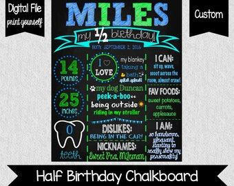 Boy's Half Birthday Chalkboard Poster - Digital - 6 Months Old - Half Birthday - Six Months Old - Photo Prop - My Half Birthday - 6 Months