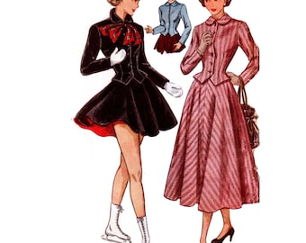 40s Peplum Jacket pattern Tailored Skirt Suit pattern Lilli Ann style Jacket vintage 32-26-35 New Look Suit pattern simplicity 2604
