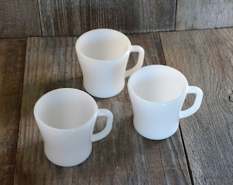 Fire King Mugs, 3 White Mugs, Fire King Mug D handle Restaurant Flat Bottom Glass Oven Ware Anchor Hocking Vintage, made in the U.S.A.