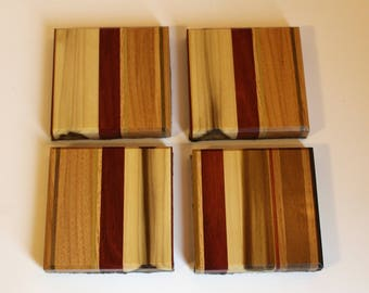 Unique hand crafted coasters - set of 4