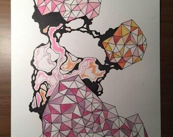 """Original Geometric Drawing-- """"Sherbet"""""""