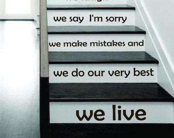 Stair Decals Quotes Stairway Decals Quote In this house we live Lettering Family Decal Home Vinyl Stickers Decor Staircase C572