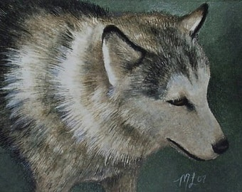 Alaskan Dog Miniature Art by Melody Lea Lamb ACEO Print #299
