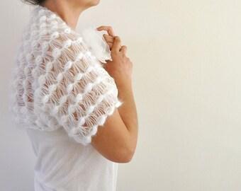 White Mohair Shrug Bolero Wedding Bolero Dreamy Soft Delicate Bridal Accessories