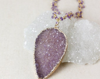 50% OFF SALE - Gold Purple Druzy Leaf Necklace – Long, Layering – Purple Amethyst Cluster Chain