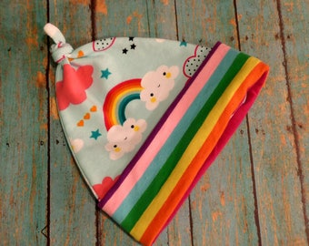 Rainbow Baby Hat, Rainbows and Clouds Knotted Hat, Newborn Baby Hat, Infant Photo Prop Hat, Beanie Hat, Baby Shower Gifts