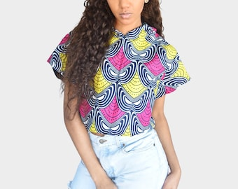 Mena Mode Hoodie in Ankara Fabric Crop Top in pink and yellow