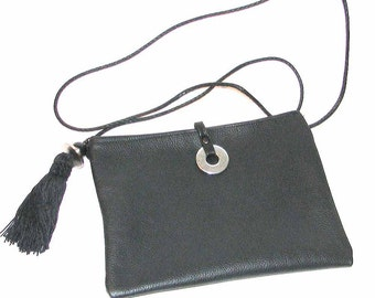 Black Leather Cross Body Yuzu with Tassel & Beads handmade