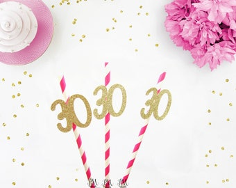 Hot Pink & Gold Glitter Number 30 Paper Straws - birthday straws, 30 straws, 30 and fabulous party, gold 30 straws, 30th birthday party