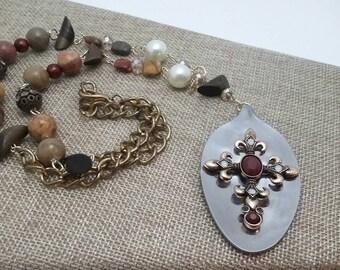 Bohemian beaded cross spoon pendant