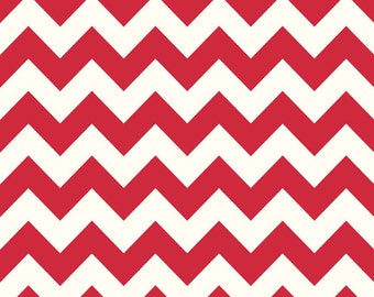 Red Chevron Cotton Fabric by the Yard - Riley Blake Basics - Cotton Chevron - Printed Fabric - Sewing Fabric Quilting Cotton Yardrage