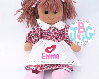 Personalised Rag doll, Embroidered Childrens Dolls/Teddys, birthday/special occasion gift, any name embroidered, custom childrens gift