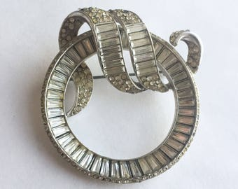Invisibly Set Rhinestone Baguette Circle Pin by Trifari