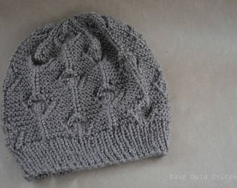 Metallic Knit Floral Hat in Taupe, Birthday Gift, Christmas Gift