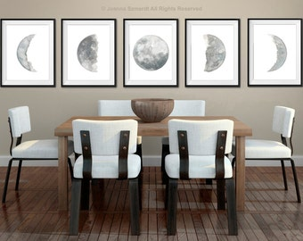 Moon Phase Large Wall Print set 5, Blue Grey Watercolor Painting, Full Half Crescent New Gibbous Five Moon Phases Illustration, Bedroom Art