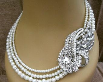 Bridal Necklace, Wedding Necklace , Bridal Pearls Necklace Pearl Bridal Necklace Vintage Style Bridal Jewelry Bridal Jewelry Wedding Jewelry