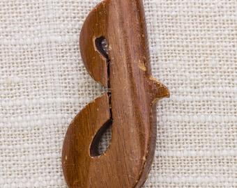 """Wood Script J Brooch Vintage Letter """"J"""" Broach Vtg Pin 7JJ"""