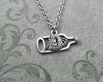 Ship in a Bottle Necklace SMALL Bottled Ship Necklace Ship Jewelry Boat Necklace Ship Charm Necklace Nautical Jewelry Impossible Bottle Gift