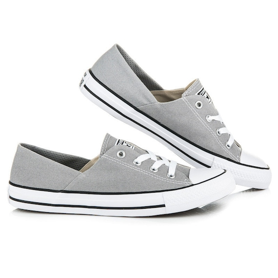 Light Gray Converse Coral Low Top Bridal slip on Grey w/ Swarovski Crystal Chuck Taylor Bling Rhinestones All Star Wedding Sneakers Shoes