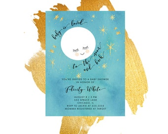 Baby Shower Invitation, Moon Baby Shower Invitation, Printable, Moon, Blue, Gender Neutral,  Shower Invite, Stationary