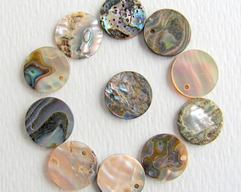 Natural Abalone Shell Pendants, Coin, 12-12.5x2mm, Hole:Approx 1mm  (BD-A294)