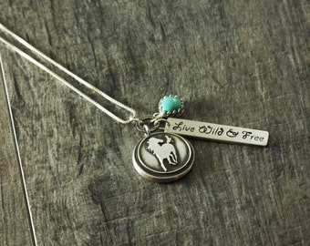 Wild Horses Wax Seal Necklace Fine Silver Necklace Artisan Pendant Handstamped Personalized Necklace