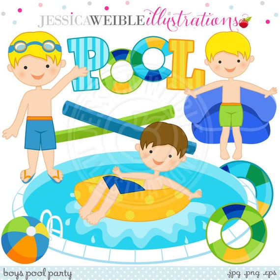 Boys pool party cute digital clip art commercial use ok for Free clipart swimming pool party