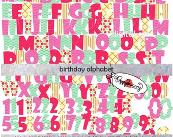 Birthday Alphabet: Clip Art Pack (300 dpi transparent png) Card Making Digital Scrapbook Letters Numbers Pink Purple Blue