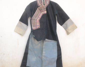 Vintage Yao hilltribe jacket, Linen vintage coat, Indigo, ethnic, thailand, boho, unique vintage, embroidery, gypsy, hmong