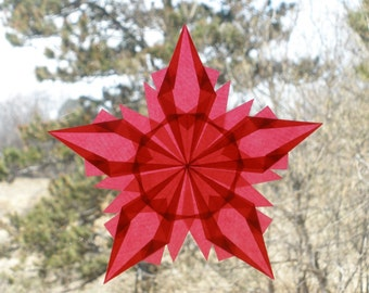 Red Window Star with Five Folded Points