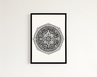 Kaleidoscope Hexagon Mandala - Hand drawn art print