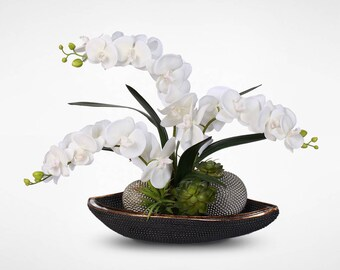 Real Touch White Phalaenopsis Silk Orchids with Succulents and Silver Balls in Beadwork Bowl #21B
