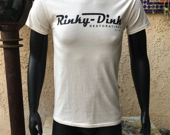 Rinky Dink Restorations Vintage T-Shirt, 100% Cotton Graphic T, Size Small