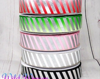Holiday ribbon USDR with silver foil stripes