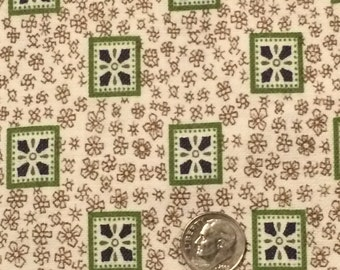 Vintage Floral Fabric / Green Cotton Fabric / Medium Weight Cotton Fabric / Cotton Fabric / Brown Cotton Fabric / Floral Cotton Fabric