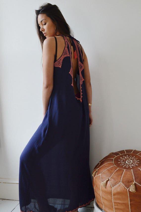 Navy Blue Bohemian Maxi Dress Kaftan Caftan-Beach kaftan, cover up, resort wear, loungewear, beachwear, beach wedding, resort maxi dress