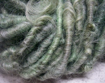 Handspun Corespun Hand Dyed Textured  Lincoln Longwool Bulky Art Yarn in Mint Green with Gray Shadows by KnoxFarmFiber for Knit Weave