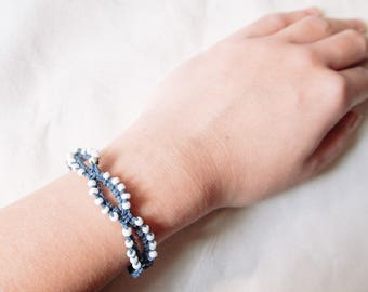 Blue Grey Seedbead Woven Bracelet, Beaded Knotted Friendship Bracelet