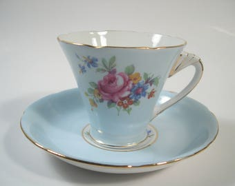 Royal Grafton  Tea Cup and Saucer,  Blue Tea Cup and Saucer, Flower bouquet and fancy handle.