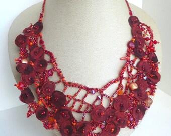 Red beaded bib necklace, free form peyote stitch jewelry, unique beadwork, bohemian style, statement jewelry, floral Scarlet IX