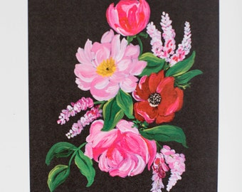 Painted Florals - Red & Pink Flowers on Black - Floral Print  - 8 x 10