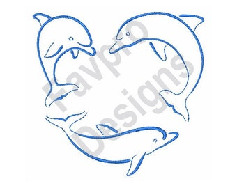Dolphins Outline - Machine Embroidery Design
