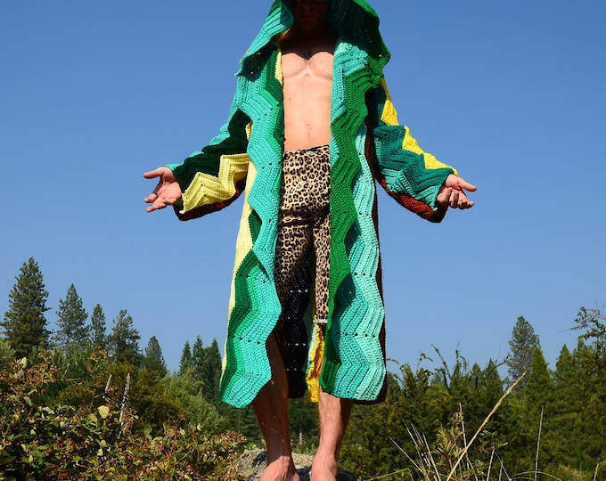 Crochet Sweater Robe Turquoise, Forest Green and Gold