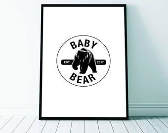 Baby Bear Print, Baby Bear, New Baby, Birth Announcement, Baby Boy, Nursery Art, Monochrome Nursery, Printable Digital Download, Nursery