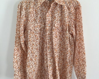 Men's Pearl Snap Western Yellow Floral Print L/S Shirt S