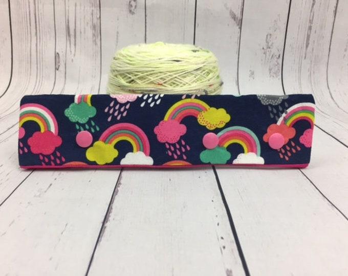 "Rainbows, Circular Needle Progress Holder,  6-8"" DPN Progress Holder for Knitting"