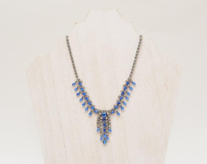Vintage 1950s Blue Rhinestone Necklace