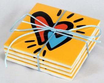 Hearts Ceramic Coasters - 50% Off Ceramic Coaster Sale