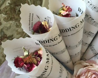 """12 Wedding Toss Cones, Paper Cones, """"Here Comes The Bride"""", """"Recessional"""" sheet music, Renewing Vows, Scalloped Edge,  8"""""""