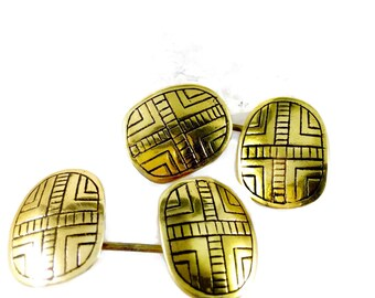 Cuff Links Bronze Shield Tsalagi Cherokee Made